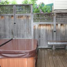 Cedar deck before cleaning.