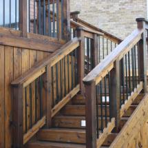 Deck stairs and skirt after cleaning with Seal Once.