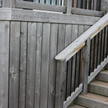 Deck stairs and skirt before cleaning.