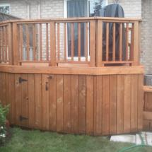 Curved cedar deck after restoration with Seal Once.