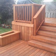 Two level deck with planter box after cleaning and sealing with Seal Once.