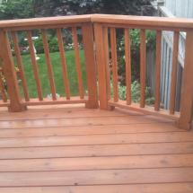 Cedar deck after cleaning and sealing with Seal Once.