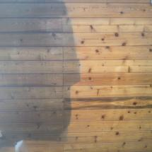 Shed wall before and after cleaning.