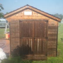 Shed doors before restoration.