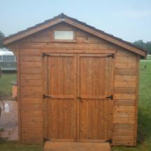 Front of shed after restoration by HD Outdoor Cleaners.