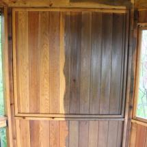 Interior gazebo wall before and after.