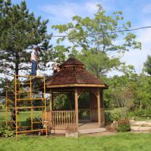 Gazebo being restored by HD Outdoor Cleaners.