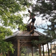 Cleaning the roof of a gazebo.