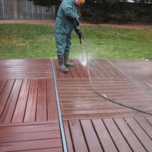 The boss hard at work cleaning decks!