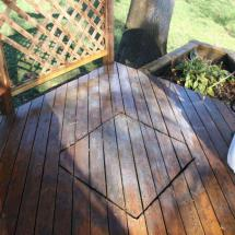 Step one - applying our environmentally friendly cleaner to clean that deck.